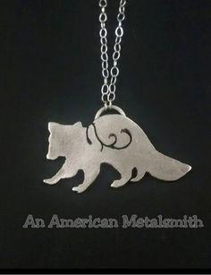 Raccoon Necklace|Raccoon Jewelry|Animal Necklace|Filigree Raccoon Necklace|Sterling Silver Raccoon Pendant|Filigree Jewelry|Animal Jewelry by AnAmericanMetalsmith on Etsy