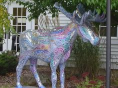 .Bennington Deer Family, Animal Statues, Public Art, Cows, Vermont, Squirrel, Art Projects, Moose Art, Cool Stuff
