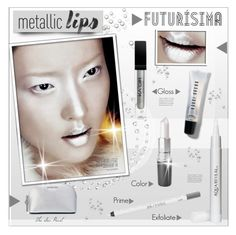 """""""Metallic Lips: Silver Futuristic Glam"""" by theseapearl ❤ liked on Polyvore featuring beauty, philosophy, MICHAEL Michael Kors, Bobbi Brown Cosmetics, Aquareveal, Urban Decay, futuristic, spaceage, beautyroutine and metalliclips"""