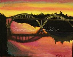 Original Fine Art  Painting  Bridge Over Rogue by TreasuresHeart, $85.00