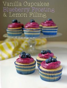 Blueberry Cupcakes, Lemon Filling & Blueberry Cream Cheese Frosting - ChefTap