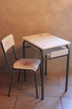 Ensemble Bureau et chaise d'écolier Vintage Gris Blanc et Rose : Chambre d'enfant, de bébé par lesideal