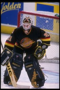 On this Date Jan 1996 Corey Hirsch recorded his first NHL shutout, as the Canucks blanked the Bruins Hockey Goalie, Hockey Games, Hockey Highlights, Hockey Posters, Canada Hockey, Goalie Mask, Vancouver Canucks, Nfl Fans, Sports Figures