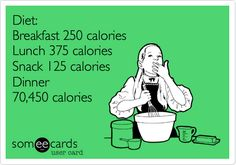 Diet: Breakfast 250 calories Lunch 375 calories Snack 125 calories Dinner 70,450 calories.