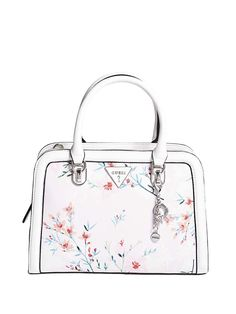 GUESS Factory Women's Braelyn Floral-Print Satchel * Read more at the image link. (This is an affiliate link) Designer Purses And Handbags, Guess Handbags, Floral Bags, Satchel Handbags, Tote Purse, Leather Satchel, 5 D, Floral Prints, Shoulder Bag
