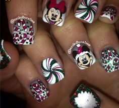 Designs for christmas ideas about Christmas manicure, pretty nails and Holiday nail art. As if ombre nails are not cool enough, this holiday nail design uses a glitter ombre with painted Christmas ornaments on each nail. The look is intricate and fun . Disney Nail Designs, Christmas Nail Art Designs, Holiday Nail Art, Christmas Ideas, Christmas Ornaments, Christmas Art, Disney Christmas Nails, Xmas Nails, Christmas Manicure