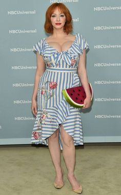 Gorgeous: Christina Hendricks was certainly feeling the summer vibes on the red carpet of the NBCUniversal Upfront presentation in New York on Monday morning Beautiful Christina, Beautiful Redhead, Christina Hendricks Bikini, Cristina Hendrix, Voluptuous Women, Hollywood Actresses, Redheads, Cool Girl, Hot Girls