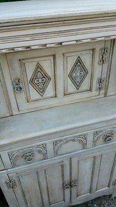 Beautiful detailing in Annie Sloan's old white with a dark wax vintage finish, by Imperfectly Perfect xx