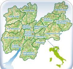 Cartina del Trentino e delle sue vallate.