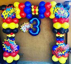 Superhero balloon Arch  #balloondecoration #balloonarch #balloondecor #superheroes #superheroparty #partyideas #kidsparty #superman #batman #captainamerica #thankyou #gardena#balloons