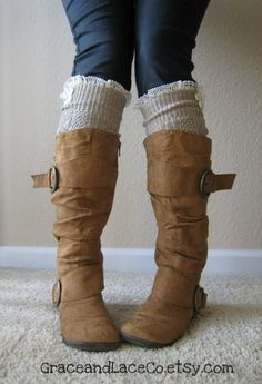 The Milly LaceTAN Cableknit BOOT SOCKS w/ cream by GraceandLaceCo, $34.00