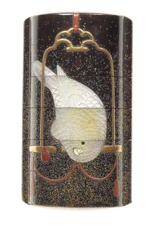 An inlaid black lacquer five-case inro By Hara Yoyusai, 19th century Of upright form, the roiro ground embellished with gold and silver mura-nashiji, lacquered and inlaid with two parrots on perches, in gold, red and green takamakie, one bird of inlaid raden and the interior of nashiji, signed Yoyusai.