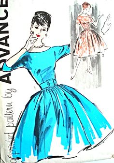 1960 BEAUTIFUL Full Skirt Party Cocktail Dress Pattern ADVANCE 9441 Very Audrey Hepburn Style Bust 36 Vintage Sewing Pattern- Authentic vintage sewing patterns: This is a fabulous original dress making pattern, not a copy. Because the sewing patterns Dress Making Patterns, Vintage Dress Patterns, Vintage Dresses, Vintage Outfits, Vintage Fashion, 1960s Fashion, 60s Patterns, Star Patterns, Pattern Making