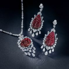 GABRIELLE'S AMAZING FANTASY CLOSET | Floral Carved Rubellite Pendant and Earrings mounted in a diamond and 18K White Gold Setting. | You can see the Rest of the Outfit and my Remarks on this board. - Gabrielle