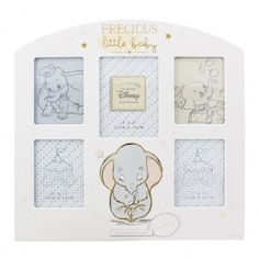 Relive the magic of your favourite memories with your special little one with our beautiful Dumbo collage photo frame! The wooden design features glittery 'precious little baby' wording and a charming Dumbo illustration. Baby Collage, Collage Photo, Dumbo Baby Shower, Baby Dumbo, Dumbo Nursery, Disney Nursery, Baby Photo Frames, Disney Babys, Girl Nursery Themes