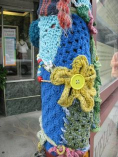 Yarn Bomb. Especially in a city where grey concrete reigns supreme, a pop of creative color will brighten someone's day, encourage their mind to think ...