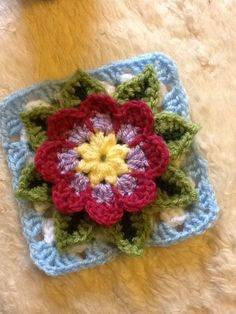 Crochet water lily square crochet mood blanket 2014