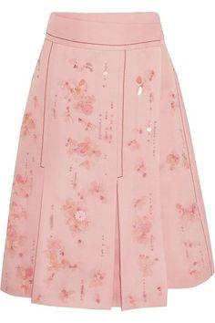 Prada - Embellished Pleated Silk-crepe Wrap Skirt - Pink - IT44