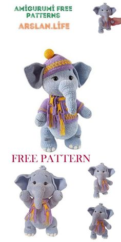 Cute Elephant, Free Crochet, Free Pattern, Dinosaur Stuffed Animal, Crochet Patterns, Teddy Bear, Toys, Animals, Life