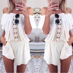 Sexy Slash Neck White Lace Splicing Short Sleeve Romper For Women Jumpsuits & Rompers | RoseGal.com Mobile