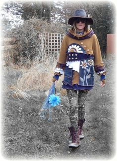 WHIMSICAL * Folk Flowers Snood Hooded Jumper Sweater Thumbhole Sleeves & Decorative Buttons ReCyCleD UpCyCleD Wearable Art Size:Small/Medium