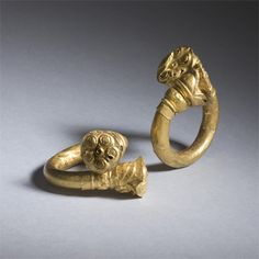A Pair Of Hollow Gold Earrings, India Gupta 5th Century Ad