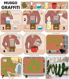 "#DIY moss ""graffiti."" What a wonderful way to grow art."