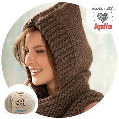 Cuello con capucha  Especial Love Wool: 8 patrones para tejer con amor | http://www.katia.com/blog/es/2015/01/20/especial-love-wool-8-patrones-tejer-amor/
