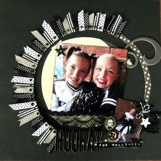 Love the circle of ribbons.  Think 'sun'...  can use Creative Memories circle cutters to make base for frame