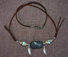 Girocollo in Stile Nativo Americano con Lava,Turchesi e Piume in Argento Tibetano