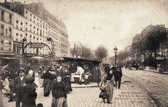 boulevard de Belleville - Paris 11ème/20ème Le marché du boulevard de Belleville, vers 1900.