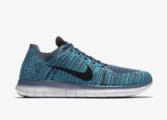 Nike Free Rn Flyknit Mens Running Shoe Ocean Fog Black Blue Glow 831069 404