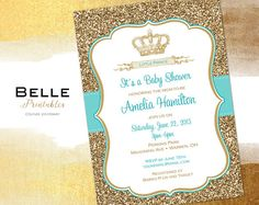 baby shower invitation prince crown for boy and gold glitter diy printable turquoise