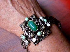 Victorian Green Cabochon Silver Plated Multi Strand Statement Bracelet by dazzledbyvintage on Etsy
