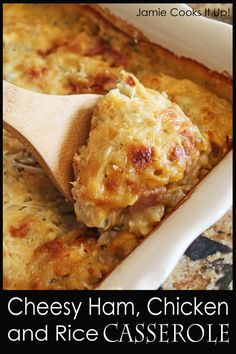 Cheesy Ham, Chicken and Rice Casserole from Jamie Cooks It Up! This makes a great week night dinner! Chicken Ham, Chicken And Wild Rice, Chicken Recipes, Cheesy Chicken, Freezer Cooking, Freezer Meals, Cooking Recipes, Amish Recipes, Dutch Recipes