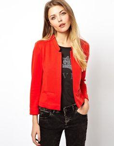Red ASOS Cropped Blazer in Ponte with Notch Detail $40 ASOS