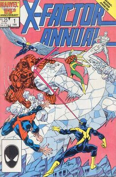 X-Factor Annual #1 (1986)... the original X-Men battle Commie duplicates of themselves, represented on the cover by a giant frozen hammer & sickle made by the Russian Iceman. Ahh, anachronisms, gotta love'em.