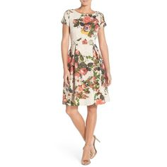 Adrianna Papell Floral Matelasse Fit & Flare Dress ($209) ❤ liked on Polyvore featuring dresses, pink multi, circle skirt, pink fit and flare dress, floral fit and flare dress, short sleeve dress and going out dresses