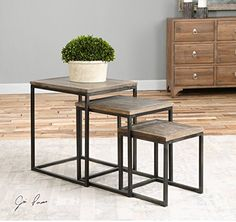 Rustic Minimalist Nesting Accent Table Set  Wood Iron *** You can find more details by visiting the image link.