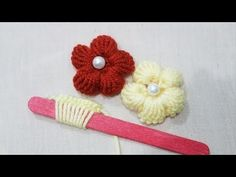 Hand Embroidery:Making Unique Puff Flower With Ice cream Stick /Amazing New Tric. - Hand Embroidery:Making Unique Puff Flower With Ice cream Stick /Amazing New Trick Hack - Embroidery Designs, Hand Embroidery Patterns, Sewing Patterns, Crochet Patterns, Hand Embroidery Flowers, Ribbon Embroidery, Embroidery Art, Embroidery Stitches, Yarn Flowers