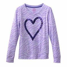 SO Heart Sequin Zebra Tee - Girls 7-16 $11.99