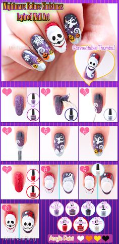 Nightmare Before Christmas inspired nail art with Santa Jack Skellington! Nightmare Before Christmas Nails, Christmas Gel Nails, Holiday Nail Art, Christmas Nail Designs, Fall Nail Art, Beautiful Nail Designs, Beautiful Nail Art, Nail Art Hacks, Nail Art Diy
