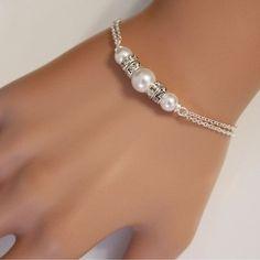 White Swarovski Pearls Chain Bracelet, Bridesmaid Gift, Elegant Wrist Band Jewelry