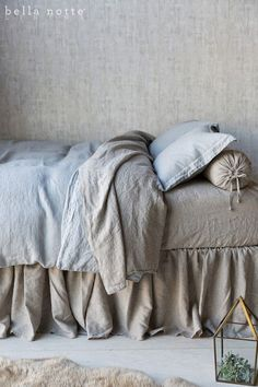 Harper our new natural linen and Mineral, or soft seafoam blue bed linens
