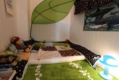 closet converted to baby room // cute floor bed! I would have loved this as a little kid, it's like fort!