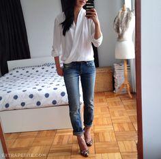 ExtraPetite.com - The white blouse: Pleione petite crossover draped top
