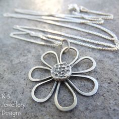 Sterling Silver Pendant Necklace - RUSTIC DAISY- Handmade Metalwork Textured Wire Flower Jewelry - Oxidised or Bright Shiny