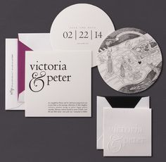 Our Oversized Ampersand invitation is shown here foil stamped in black. The accompanying save the date is blind embossed and the save the date is flat printed in black ink.