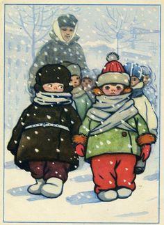 Детский сад на прогулке 1956, Автор: Талашенко В.,