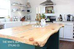 live wood edge kitchen island countertop via @lindsaylj The White Buffalo Styling Co